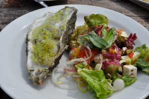 green herb crusted oyster